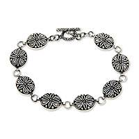 Sterling silver link bracelet, 'Floral Connection' - Sterling silver link bracelet