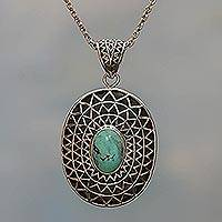 Sterling silver pendant necklace, 'Java Sun' - Sterling silver pendant necklace