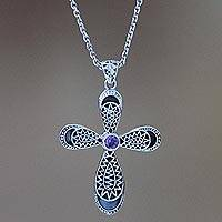 Amethyst cross necklace, 'Heaven's Embrace' - Handmade Amethyst and Sterling Silver Cross Necklace