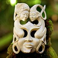 Wood mask, 'Soulmates' - Modern Wood Mask