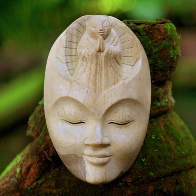 Wood mask, 'Face of Piety' - Unique Buddha Wood Mask