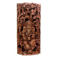 Wood relief panel, 'Sacred Lord Ganesha' - Wood relief panel