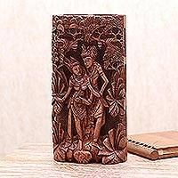 Wood relief panel, 'Prince Rama with Sita' - Wood relief panel