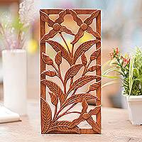 Wood relief panel, 'Spirit of the Wild Orchids' - Balinese Wooden Floral Panel
