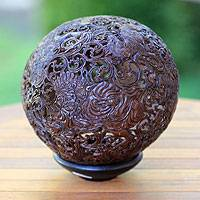 Coconut shell sculpture, 'Ramayana Epic Battle' - Handcrafted Coconut Shell Carving