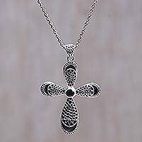 Garnet cross necklace, 'Heaven's Embrace' - Garnet cross necklace