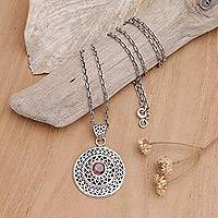 Garnet pendant necklace, 'Love's Shield' - Garnet pendant necklace