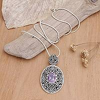 Amethyst pendant necklace, 'Jakarta Smile' - Sterling Silver and Amethyst Pendant Necklace