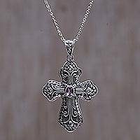 Amethyst cross necklace, 'Redemption' - Unique Amethyst Cross Necklace from Bali and Java