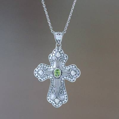 Peridot cross necklace, 'Redemption' - Peridot cross necklace