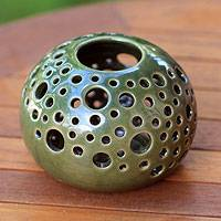 Ceramic candleholder, 'Emerald Snowball' - Handcrafted Modern Ceramic Candle Holder