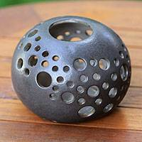 Ceramic candleholder, 'Charcoal Snowball' - Modern Ceramic Candle Holder