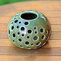 Ceramic candleholder, 'Jade Snowball' - Modern Green Ceramic Candle Holder