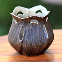 Ceramic candleholder, 'Blossoming Light' - Ceramic candleholder