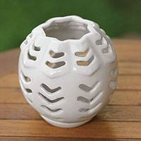 Ceramic candleholder, 'Origami Bowl' - Ceramic candleholder