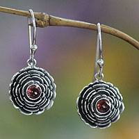 Garnet earrings, 'January Carnation' - Sterling Silver and Garnet Dangle Earrings