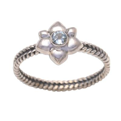 Birthstone flowers aquamarine ring, 'March Daffodil' - Floral Sterling Silver and Aquamarine Ring