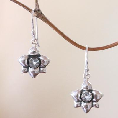 Aquamarine earrings, 'March Daffodil' - Hand Crafted Aquamarine Dangle Earrings