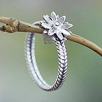 Birthstone cubic zirconia flower ring, 'April Daisy' - Cubic Zirconia and Sterling Silver Flower Ring