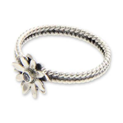 Birthstone cubic zirconia flower ring, 'April Daisy' - Cubic Zirconia and Sterling Silver Flower Ring