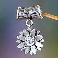 Sterling silver pendant, 'April Daisy' - Indonesian Sterling Silver and Cubic Zirconia Pendant