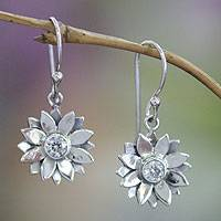 Sterling silver earrings, 'April Daisy'