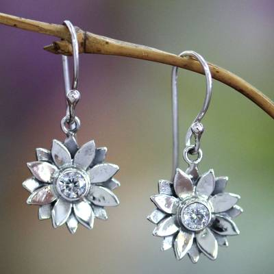 Sterling silver earrings, 'April Daisy' - Unique Sterling Silver and Cubic Zirconia Flower Earrings