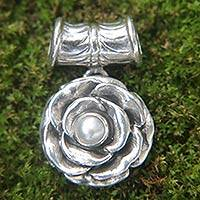 Cultured pearl pendant, 'Glamorous June Rose' - Hand Made Floral Sterling Silver and Pearl Pendant