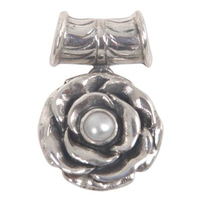 Hand Made Floral Sterling Silver and Pearl Pendant