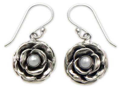 Pearl and Sterling Silver Flower Earrings