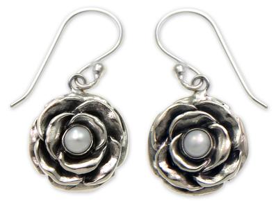 Cultured pearl earrings, 'Glamorous June Rose' - Pearl and Sterling Silver Flower Earrings