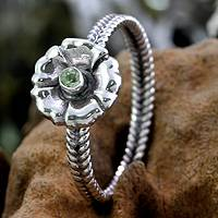 Birthstone flowers peridot ring, 'August Poppy' - Handcrafted Peridot and Silver Ring