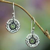 Peridot earrings, 'August Poppy'