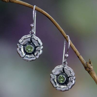 Peridot earrings, 'August Poppy' - Sterling Silver and Peridot Dangle Earrings