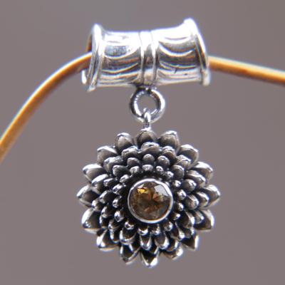 Citrine pendant, 'November Chrysanthemum' - Sterling Silver and Citrine Floral Pendant