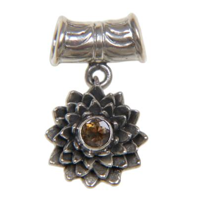 Citrine pendant, 'November Chrysanthemum' - Sterling Silver and Citrine Floral Pendant