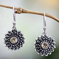Citrine earrings, 'November Chrysanthemum' - Handcrafted Sterling and Citrine Floral Dangle Earrings