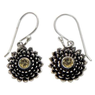 Handcrafted Floral Sterling Silver and Citrine Earrings
