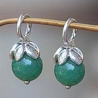 Aventurine earring charms, 'Budding Chance' - Aventurine and Sterling Silver Flower Earring Charms
