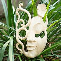 Wood mask, 'Flower Spirit' - Wood mask