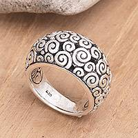 Sterling silver dome ring, 'Temple'