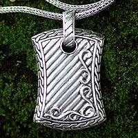 Men's sterling silver necklace, 'Royal Fern'