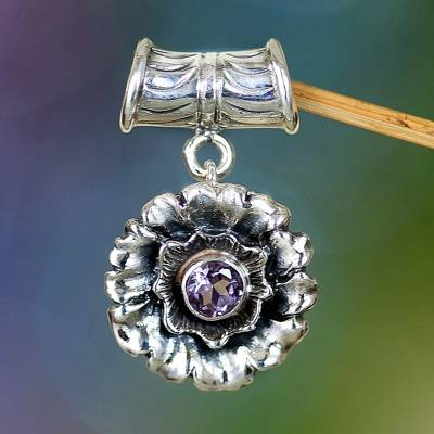 Amethyst pendant, 'February Violet' - Handmade Floral Sterling Silver Amethyst Pendant