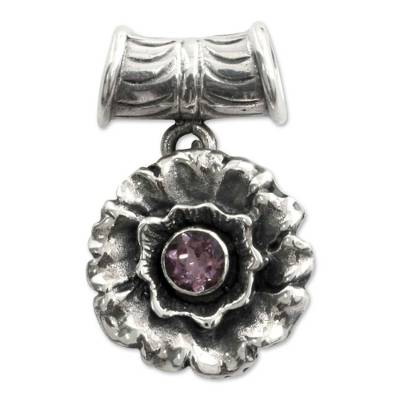 Handmade Floral Sterling Silver Amethyst Pendant