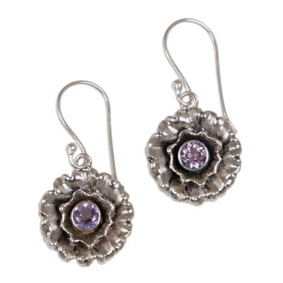 Amethyst earrings 'February Violet' - Indonesian Sterling Silver and Amethyst Dangle Earrings
