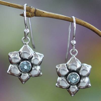 Blue topaz earrings, 'Narcissus of December' - Blue Topaz and Silver Dangle Earrings