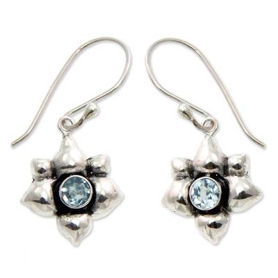 Blue topaz earrings, 'Narcissus of December' - Blue Topaz and Silver Dangle Earrings