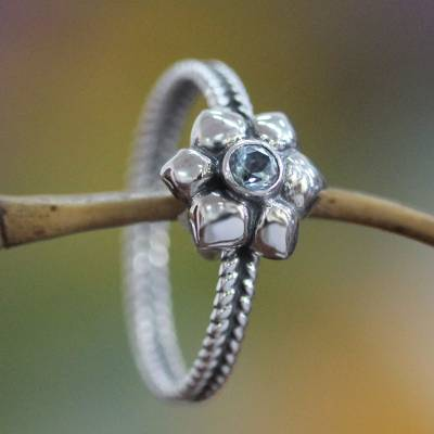 Indonesian Sterling Silver and Blue Topaz Ring