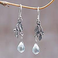 Sterling silver floral earrings, 'Blue Rainforest' - Handmade Sterling Silver Dangle Earrings