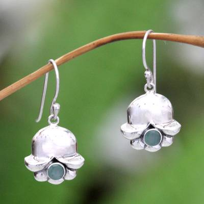 Emerald earrings, 'May's Lily of the Valley' - Emerald and Sterling Silver Dangle Earrings